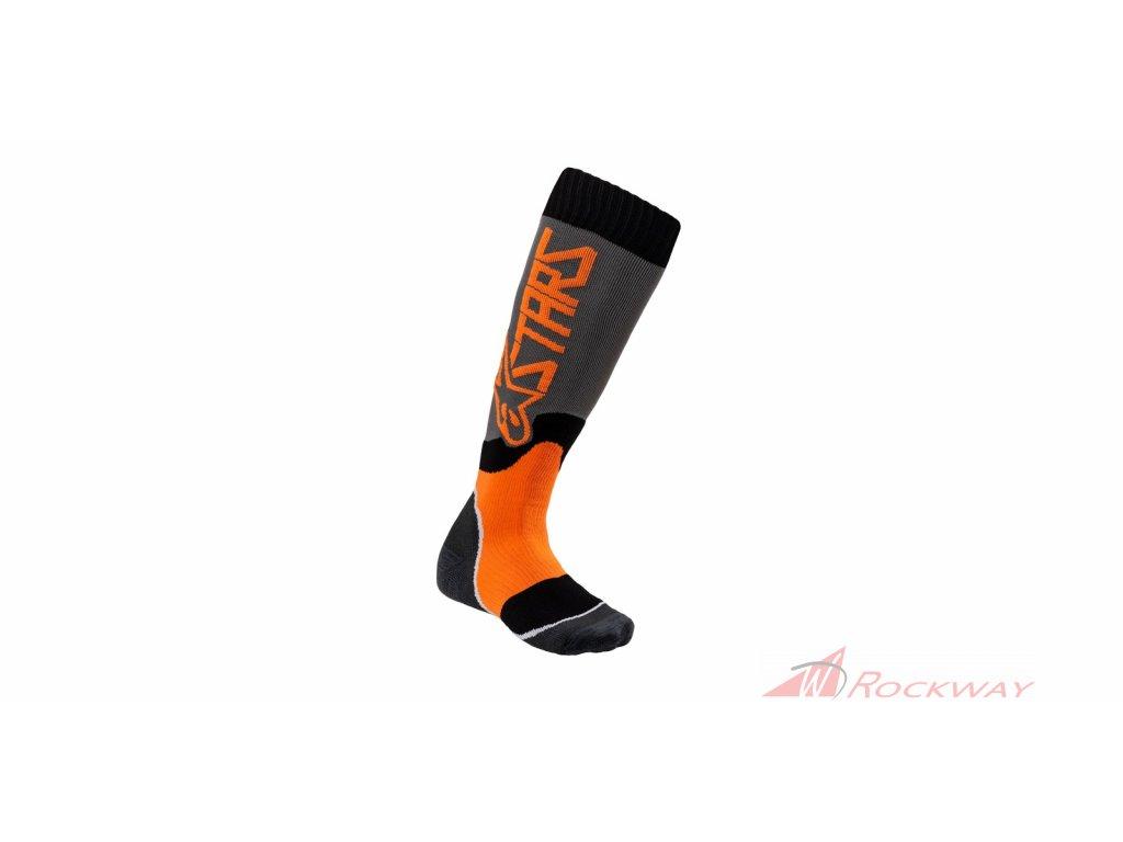 Ponožky MX PLUS-2 2021, ALPINESTARS, dětské (šedá/oranžová fluo)