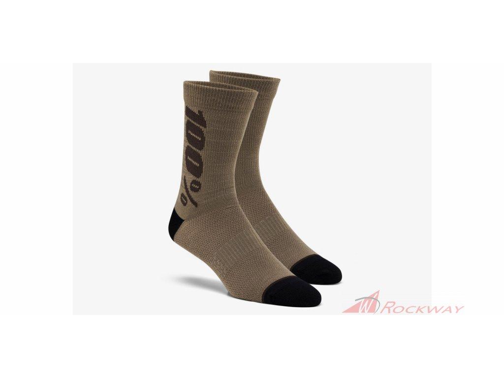 Ponožky zateplené RYTHYM Merino vlna, 100% (hnědé)