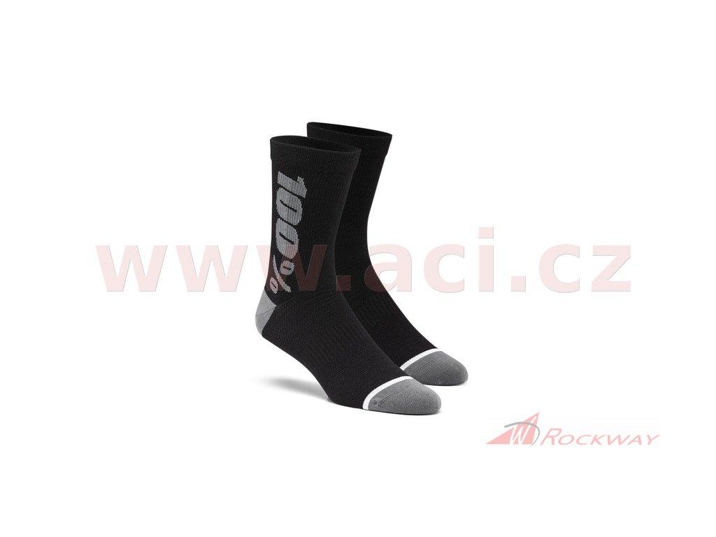 Ponožky zateplené RYTHYM Merino vlna, 100% (černé/šedé)