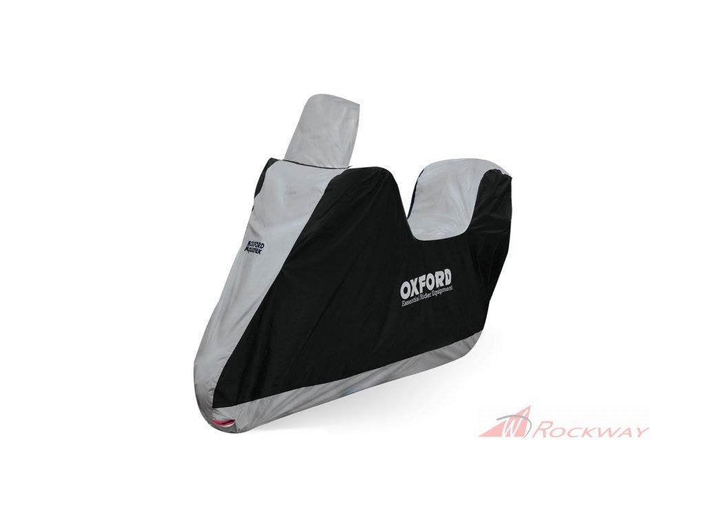 Plachta na motorku Aquatex Highscreen Scooter provedení pro vysoké plexi, OXFORD (černá/stříbrná, uni velikost)