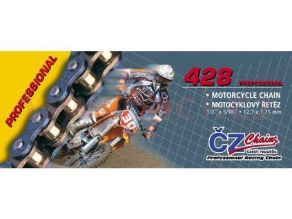 Řetěz 428MX, ČZ (barva zlatá, 104 článků vč. rozpojovací spojky CLIP)