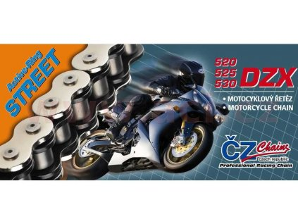 Řetěz 525DZX, ČZ - ČR (barva černá, 118 článků vč. nýtovací spojky RIVET)