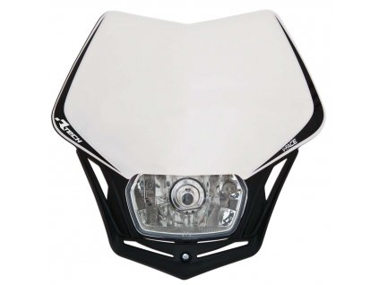 UNI přední maska včetně světla V-Face, RTECH (bílo-černá)
