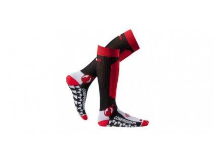 Ponožky dlouhé Santa Barbara, MOTO ONE (černo-červené)