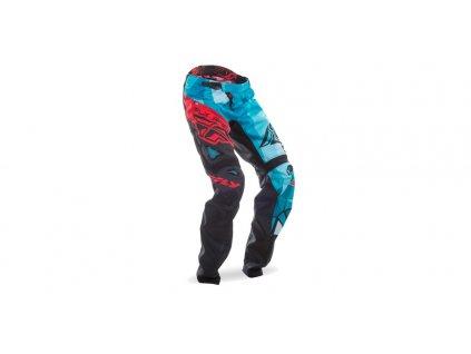 Kalhoty cyklistické MTB, FLY RACING (černá/modrozelená/červená)