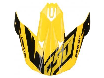 Kšilt pro přilby Cross Cup Two Junior, CASSIDA, dětská (žlutý fluo/černý/šedý)