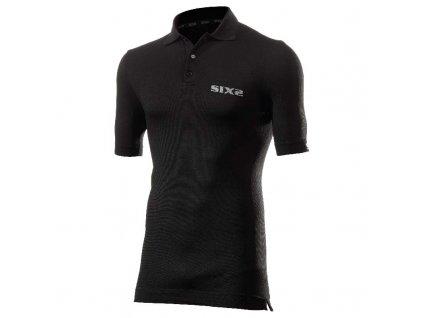 SIXS Polo funkční tričko s límečkem černá