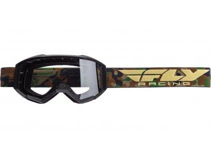 Brýle FOCUS 2020, FLY RACING (černé/camo, čiré plexi bez pinů)