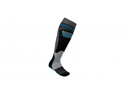 Ponožky MX PLUS-1 2021, ALPINESTARS (černá/tyrkysová)