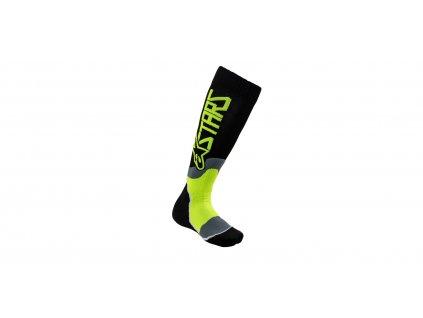 Ponožky MX PLUS-2 2021, ALPINESTARS, dětské (černá/žlutá fluo)