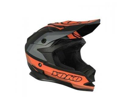 Motokrosová helma YOKO SCRAMBLE matně černý / oranžový XL