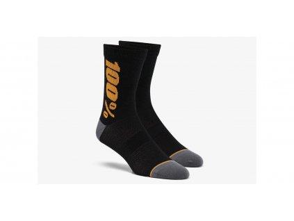Ponožky zateplené RYTHYM Merino vlna, 100% (černá/zlatá)