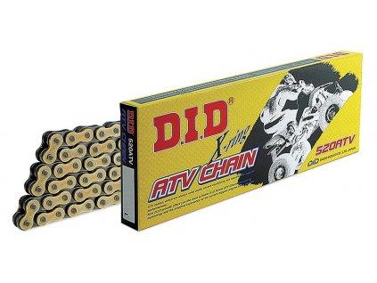 Řetěz 520ATV, D.I.D. - Japonsko (barva černo-zlatá, 116 článků vč. spojky ZJ)