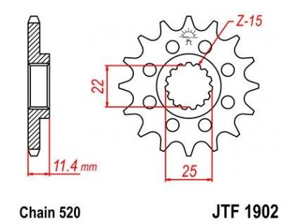 Řetězové kolečko pro sekundární řetězy typu 520, (14 zubů)