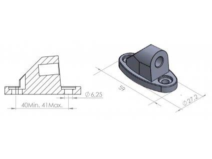 Adaptér na zpětné zrcátko PUIG SUPPORT REAR MIRROR HI-TECH FOR CBR500RR/CBR6 černý to fairing