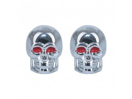 Kovové čepičky ventilků Skull, OXFORD (stříbrná, pár)