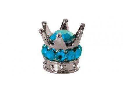 Kovové čepičky ventilků Crown, OXFORD - Anglie (stříbrná/modrá, pár)