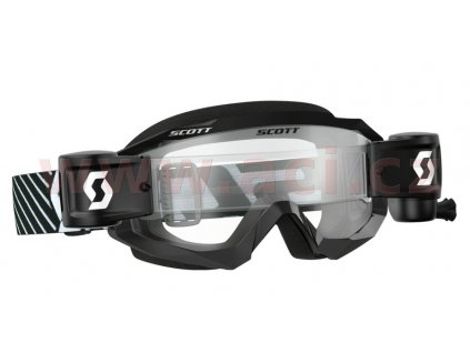 Brýle HUSTLE MX WFS, SCOTT (černá/bílá, čiré plexi s Roll Off)