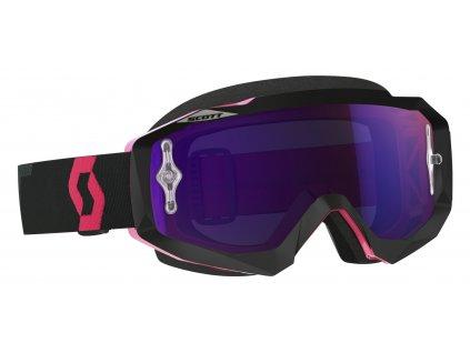 Brýle HUSTLE MX, SCOTT - USA (černá/fluo růžová, fialové chrom plexi s čepy pro slídy)