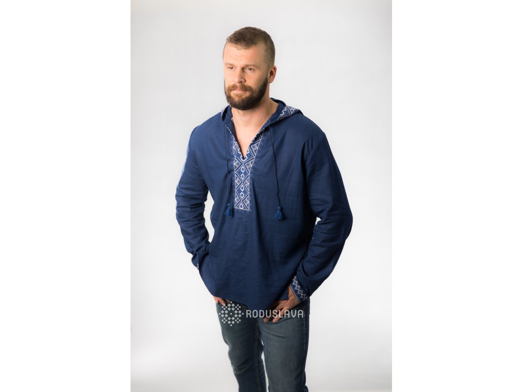 Pánská vyšívaná košile s kapucí Boromír