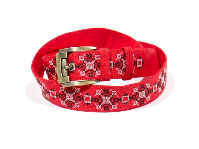 Červený vyšívaný pásek Hvězda