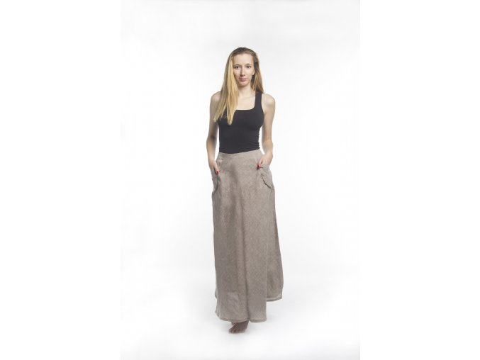 Dámská lněná sukně s kapsami