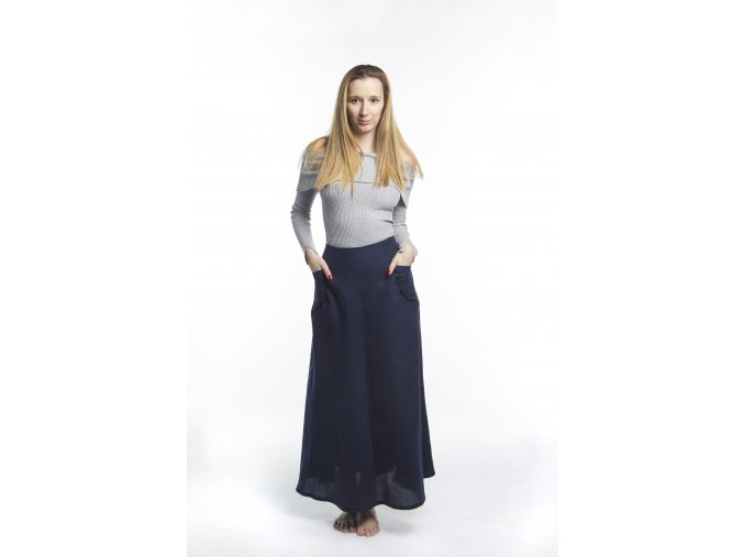 Dámská sukně s kapsami modrá