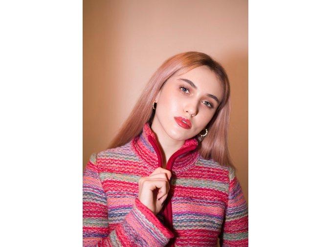 Pletený kabátek Kooi růžový