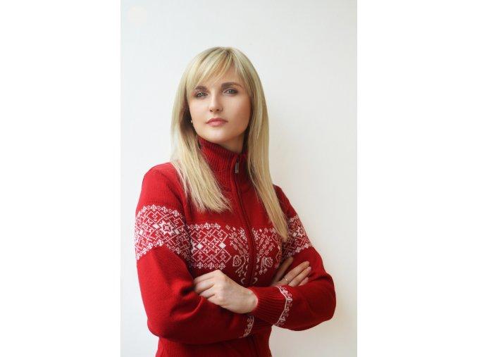 Červený vlněný svetr edice Roduslava