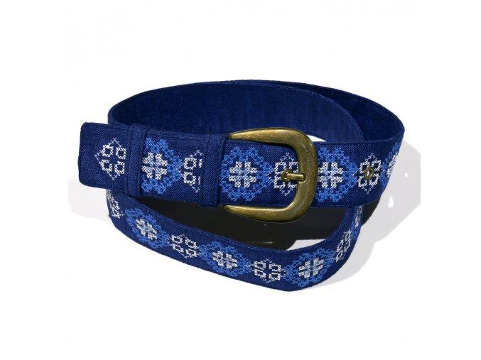 Modrý vyšívaný pásek Hvězda