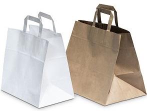 Papírové tašky s plochým uchem - širokým dnem a Takeaway
