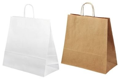 Papírové tašky s krouceným uchem - širokým dnem a pro Takeaway