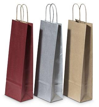 Papírové tašky na láhve s krouceným uchem