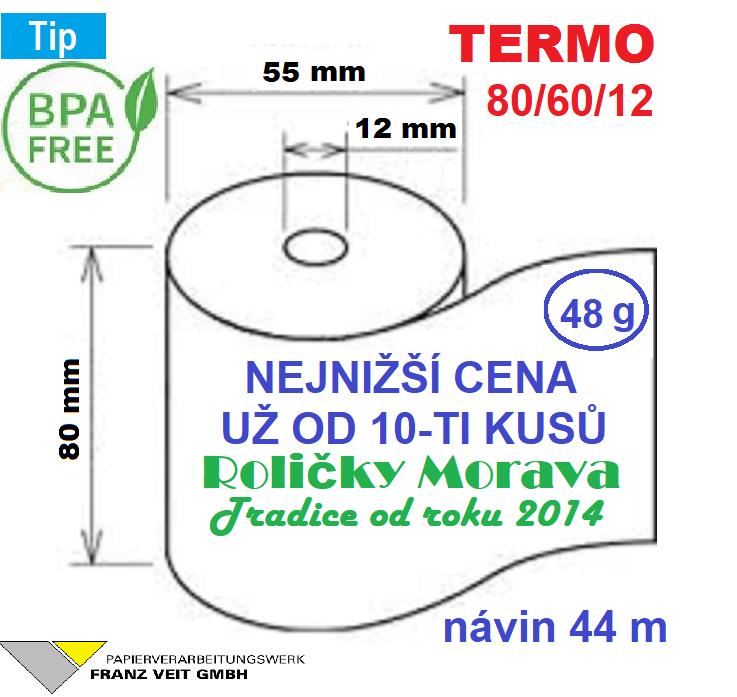 Termo 80/60/12 44 m-1ks=12,59 Kč cena za: 55g/m² 1 ks kotouček