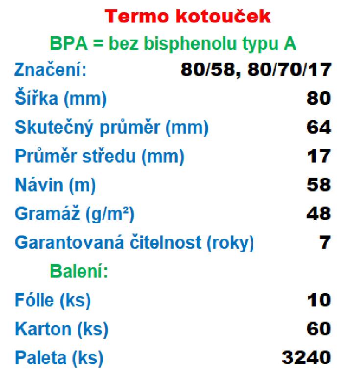 Termo 80/70/17 1ks=17,03 Kč cena za: 1 ks kotouček