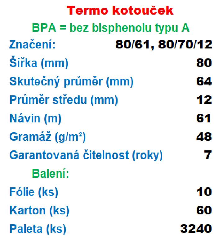 Termo 80/70/12 Kotouček: 1 ks kotoučku