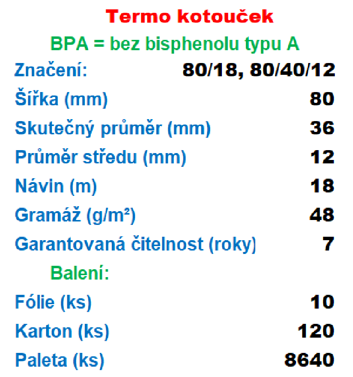 Termo 80/40/12 18 m, 55g/m² cena za: 120 ks v kartonu