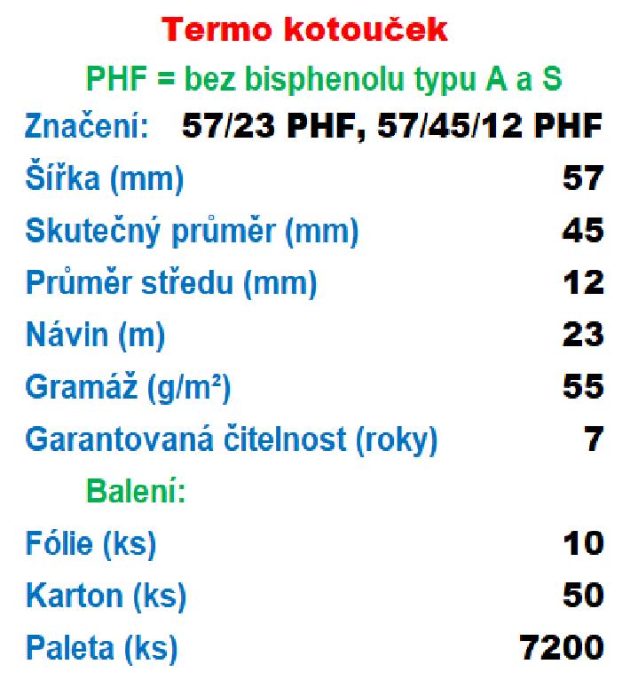Termo 57/45/12 PHF 23 m-1ks=12,20 Kč od 10 ks Gramáž: 55g/m², Množství: DOPRAVA ZDARMA Ekologický, recyklovatelý