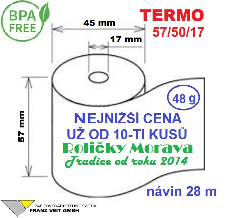 Termo 57/50/17 28 m-1ks=6,49 Kč cena za: 55g/m² 120 ks v kartonu
