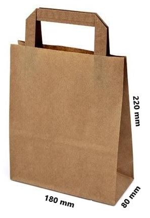 Papírová taška 180x80x220 2,50 Kč bez DPH za 1 ks od 50 ks cena za: 1 ks, Barva: Bílá ploché ucho. Bílá, nebo hnědá.