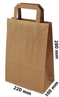 Papírová taška 220x100x280-2,50 Kč bez DPH za 1 ks od 50 ks cena za: 1 ks, Barva: Bílá ploché ucho. Bílá, nebo hnědá.