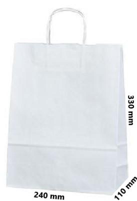 Papírová taška 240x100x320 mm 4,- Kč bez DPH od 50-ti ks cena za: 1 ks, Barva: Bílá kroucené ucho. Bílá, nebo hnědá rýhovaná.