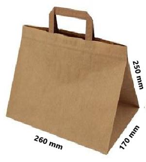 Papírová taška 260x170x250 mm 3,20 Kč bez DPH od 50-ti ks cena za: 1 ks, Barva: Hnědá ploché ucho. Bílá, nebo hnědá.
