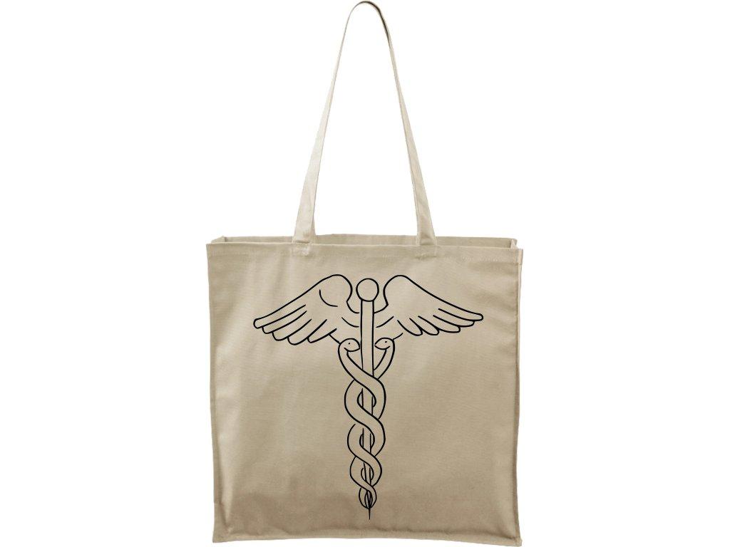 Plátěná taška Carry přírodní s černým motivem - Caduceus