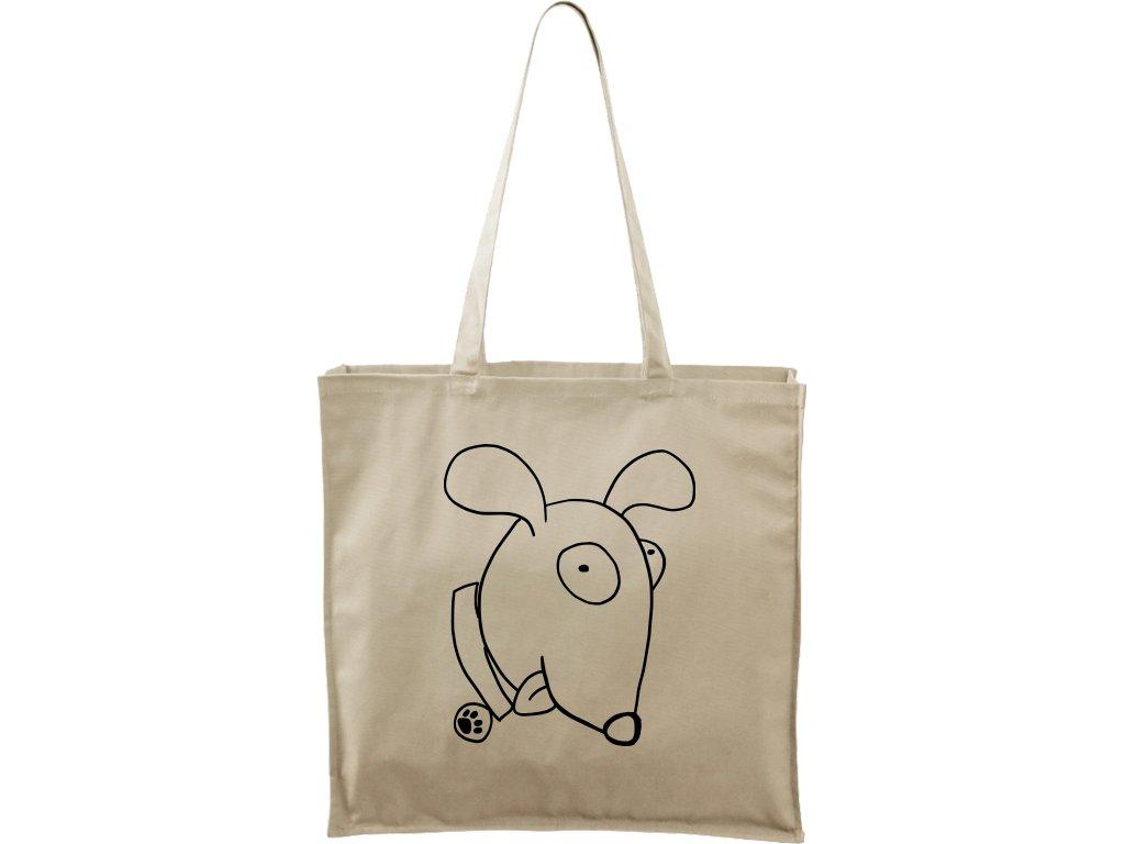 Plátěná taška Carry přírodní s černým motivem - Crazy pes
