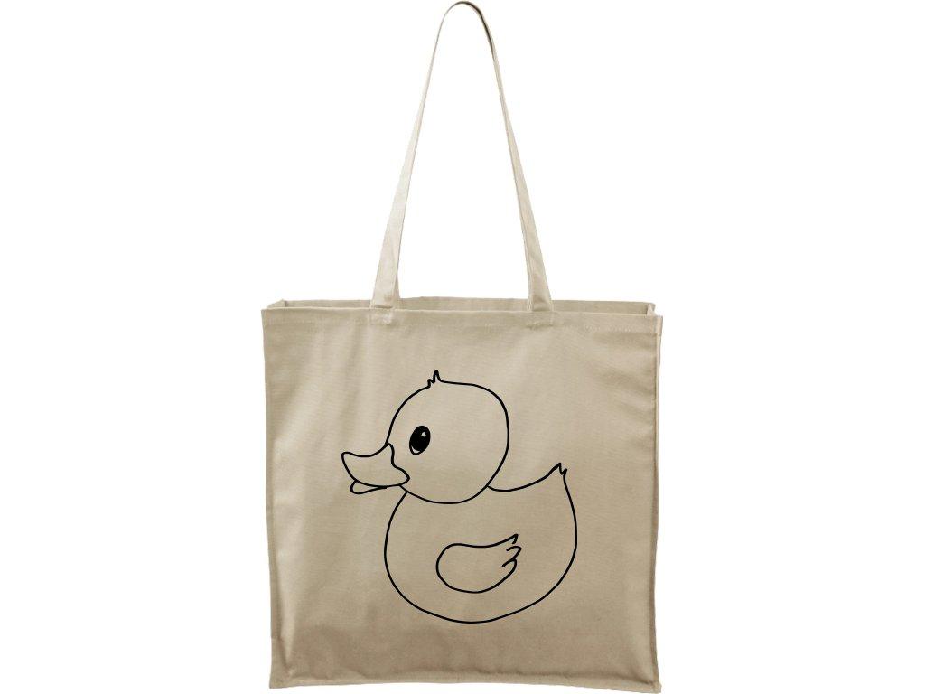 Plátěná taška Carry přírodní s černým motivem - Duck