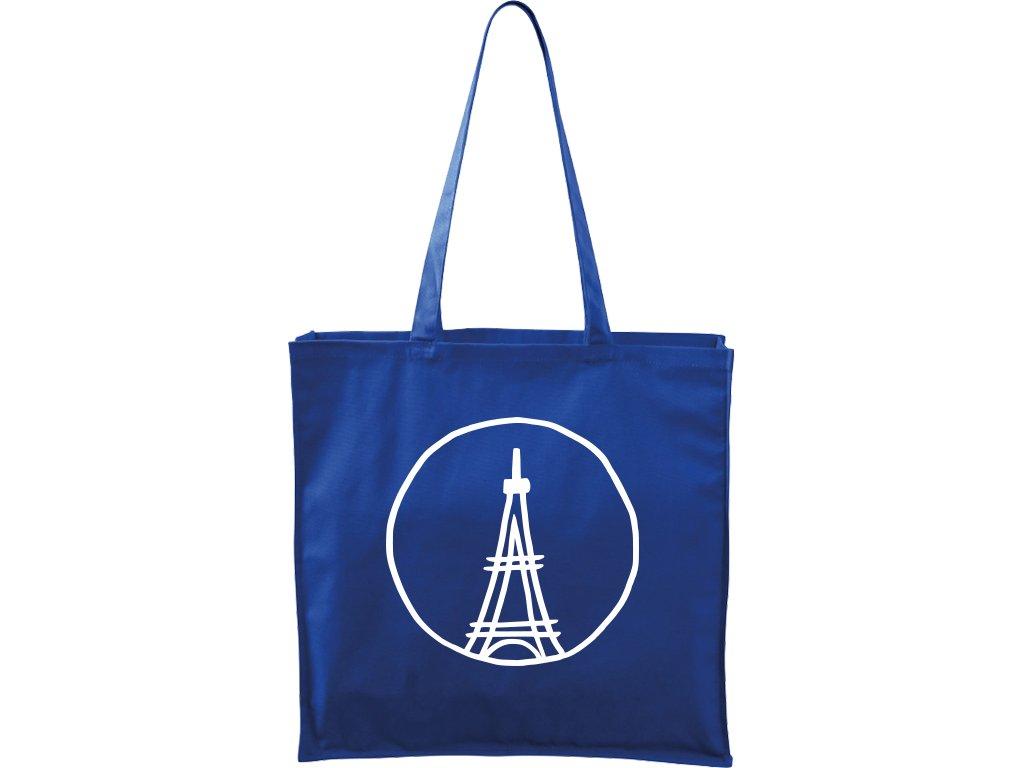 Plátěná taška Carry modrá s bílým motivem - Eiffellova věž