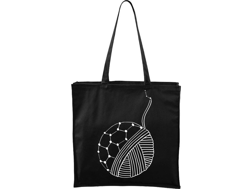 Plátěná taška Carry černá s bílým motivem - Fulleren klubko