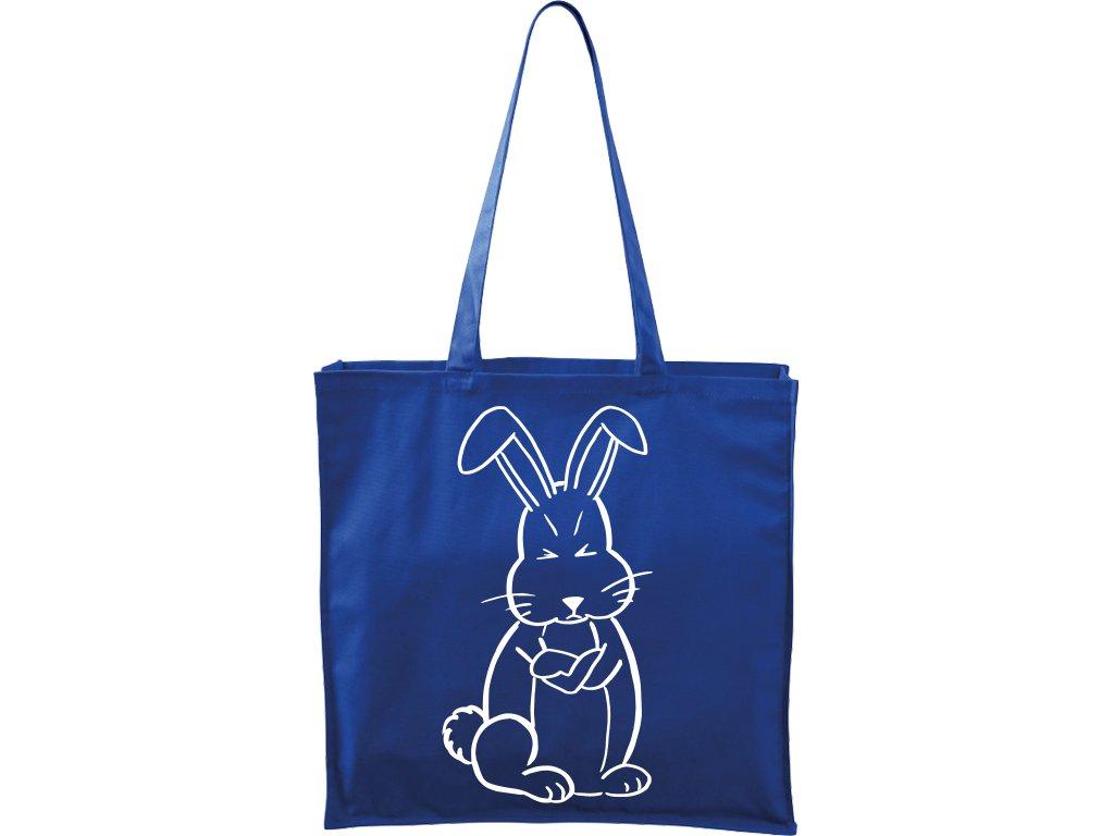 Plátěná taška Carry modrá s bílým motivem - Grumpy Rabbit