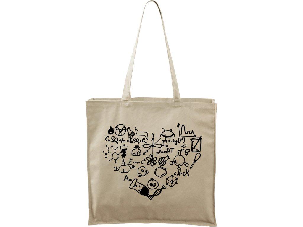 Plátěná taška Carry přírodní s černým motivem - Chemikovo Srdce